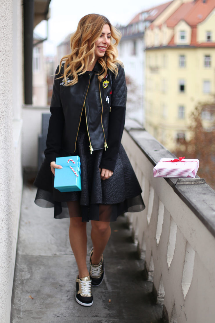 black leatherjacket, dress, sneaker