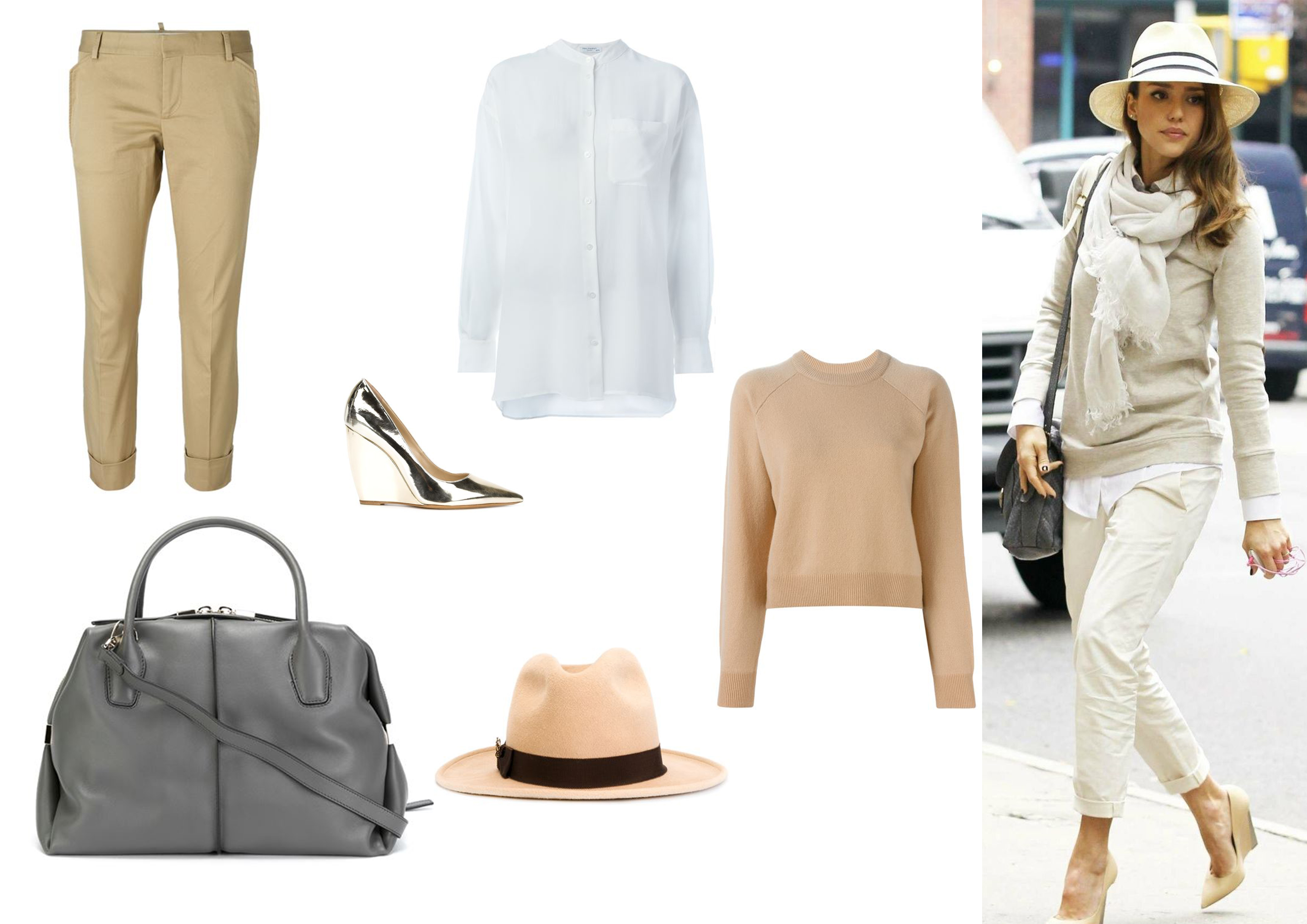 Jessica Alba beige outfit