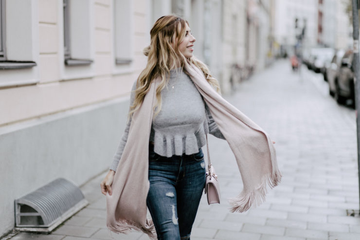 grey coat, rose scarf, jeans, valentino bag
