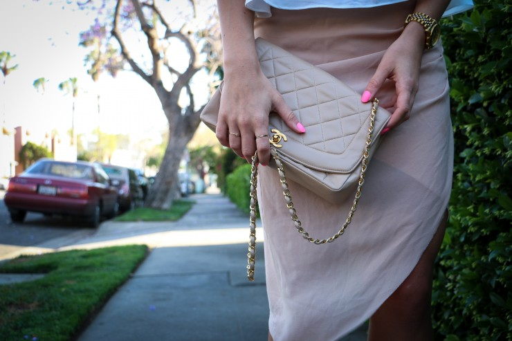 Beige Vintage Chanel Bag and Pastel Summer Look