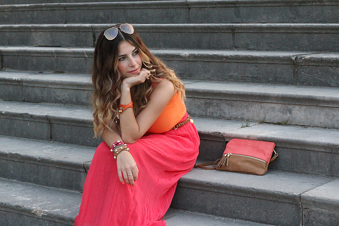 Outfit: Color Blocking maxi skirt