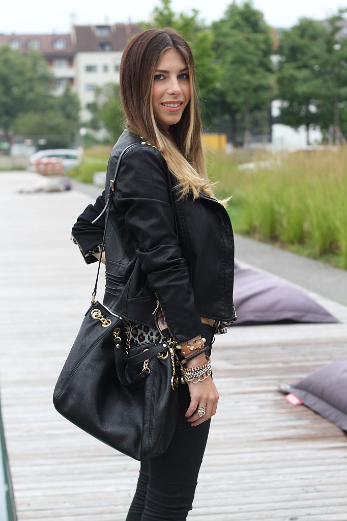 studded leather jacket black oasap