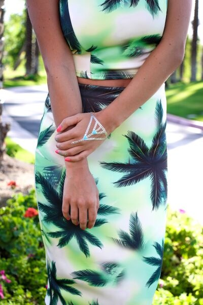 Palm Springs - Palmtree Skirt and Cropped Top